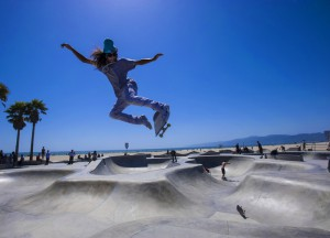 Skateboarding at Venice Beach, Los Angeles, CA on June 6, 2012