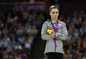 McKayla Maroney of the U.S. reacts after receiving her silver medal in the women's vault victory ceremony in the North Greenwich Arena during the London 2012 Olympic Games August 5, 2012.