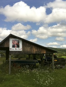 A picture of former President George Bush hangs along a country road in rural Vermont.