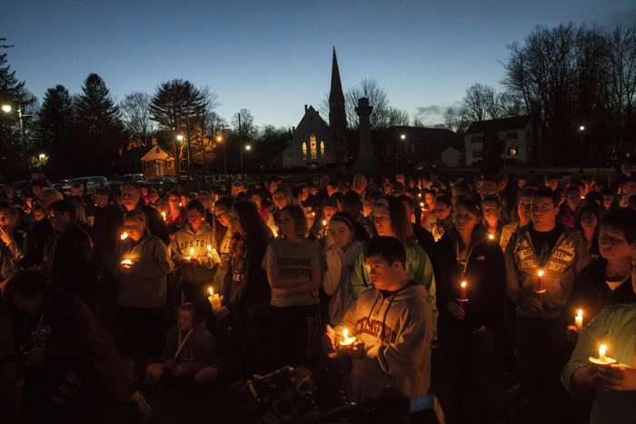 April 17, 2013-Boston, MA USA: A vigil was held at Chelmsford Common in Chelmsford, MA for Boston Marathon bombing victim Jeff Bauman Jr, Chelmsford native, whose image was widely circulated in the wake of the blasts as he was rushed through the street in a wheelchair. Bauman's father said that doctors at Boston Medical Center had to amputate what was left of both lower legs.