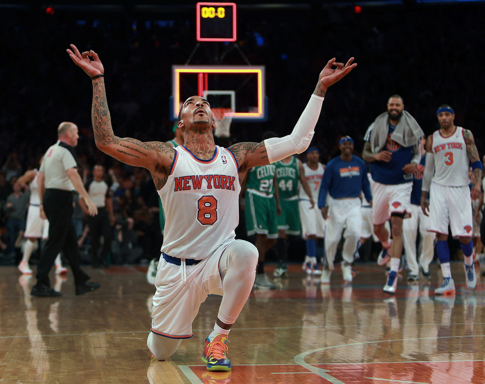 The Knicks J.R. Smith rejoices after hitting a desperation three pointer at the buzzer ending the first quarter. The Boston Celtics visited the New York Knicks for Game Two of an NBA Eastern Conference Quarter Final series at Madison Square Garden.