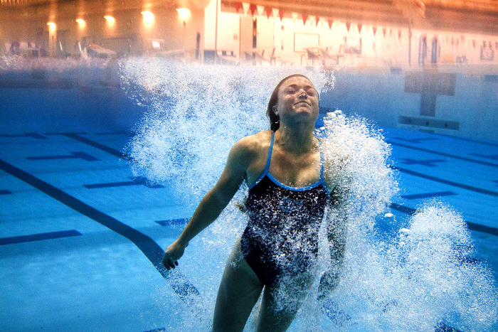 CAMBRIDGE, Mass. --  Tufts diver Ali Maykranz returns to the surface during practice at MIT on Jan. 29, 2013.
