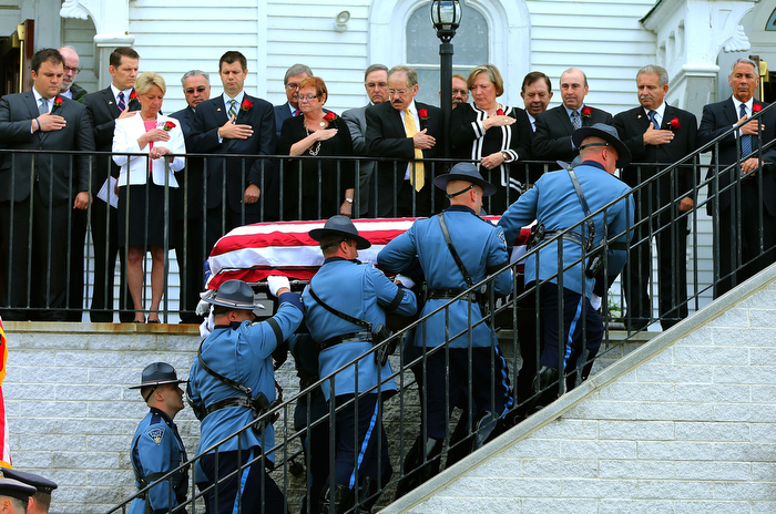 Hudson-06/14/13-  A funeral mass was held at Saint Michael Church for former Gov. Paul Cellucci , where friends, family and politicians attended.  Pallbearers carry the casket into the church.