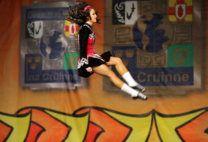 Boston-3/29/13-  Casey McLeod from Belfast, Ireland is way up high in the senior ladies over 21 competition at The World Irish Dancing Championships a being held at the Hynes Convention Center.  It is only the second time in it's 40 year history that the eight-day event is held outside Ireland and Scotland. Organizers expect twenty-thousand people from around the globe to attend the event.