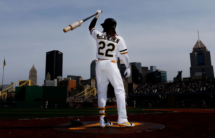 Andrew McCutchen #22 of the Pittsburgh Pirates stands in the on deck circle during the game against the Cincinnati Reds on April 14, 2013 at PNC Park in Pittsburgh, Pennsylvania.