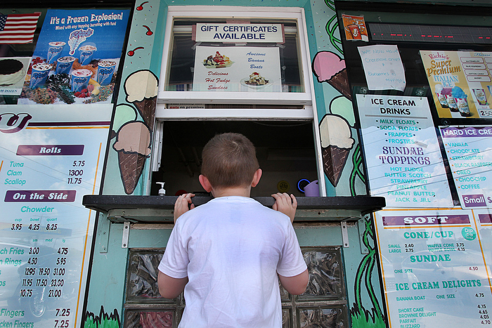 Sometimes the best part of soft serve on a hot summer day is in the anticipation. At Dairy Freeze, a quintessential New England ice cream stand,  four year old Ryan of Milton waited with anticipation for his vanilla softserve.