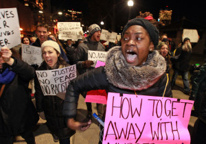Protesters push towards the Boston Common