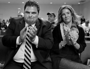 09/16/2014-Boston,MA. Everett,MA Mayor Carlo DeMaria and his wife Stacy celebrate after the MA. Gaming Commission voted to approve a proposal put forth by Wynn Casino, to place a casino in Everett, beating out a proposed Revere casino.