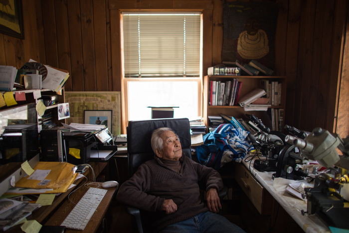 March 21, 2015 – Susumu Ito, 95, relaxes in his office at home in Wellesley, Mass.