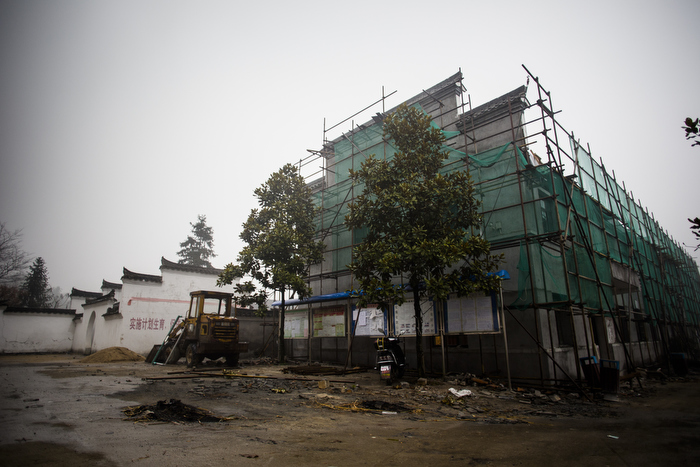 Construction work is underway to make Huangtian village a tourist destination, January 6, 2015.