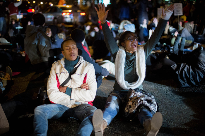 Boston. Dec. 4, 2014. Protestors lay down on Boston streets and stop the traffic flow in Boston on Thursday night.