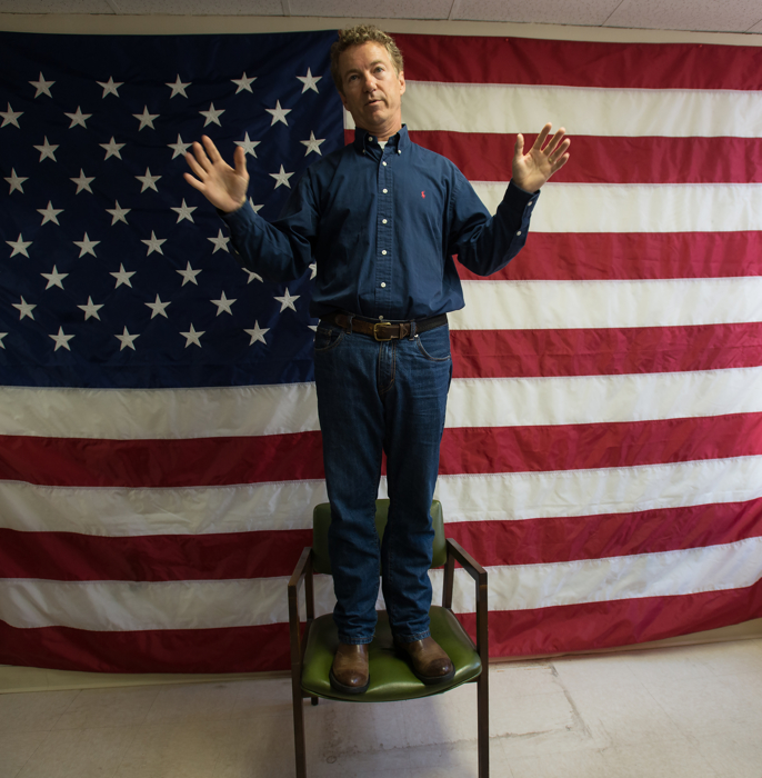 Senator Rand Paul (R-KY) speaking during the opening of  his Manchester NH headquarter in Manchester, NH on June 5, 2015.