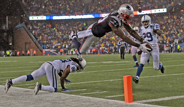 New England Patriots wide receiver Brandon LaFell dives for the end zone just short of a touchdown over Indianapolis Colts cornerback Greg Toler in the fourth quarter of the AFC Championship Game  at Gillette Stadium on Sunday,  January  18, 2015.