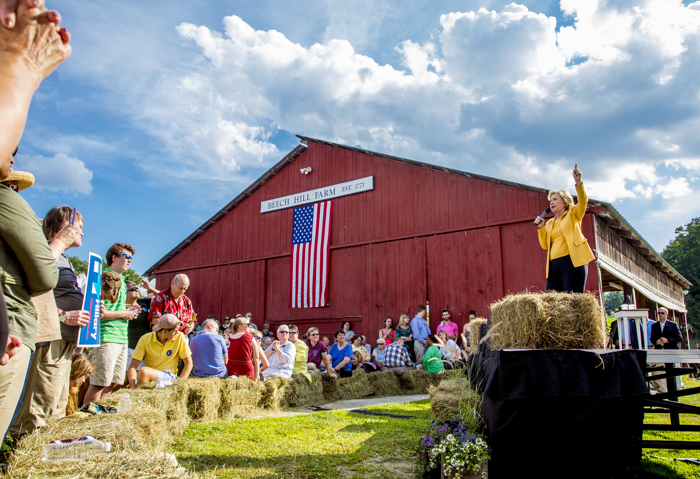 July 28, 2015  Hopkinton NH USA:  Democratic Presidential candidate Hillary Clinton campaigning at Beech Hill Farm in Hopkinton, NH.
