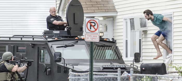 MPD SWAT attempted to talk a barricaded subject out of a house. The suspect was making threats to Fire, EMS and Police and mentioned he had several weapons and chemicals. MPD deployed tear gas in the window and the suspect quickly jumped out the window on to the bearcat where he was taken in to custody.
