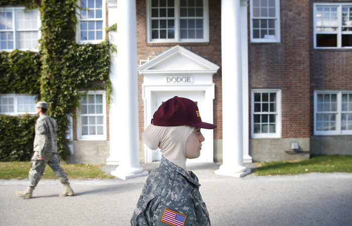 Sana Hamze is making history at Norwich University, the country's oldest private military college. She is the first student at the school to ask for a religious accommodation to wear the headscarf that is central to her Muslim faith, a request the school granted.
