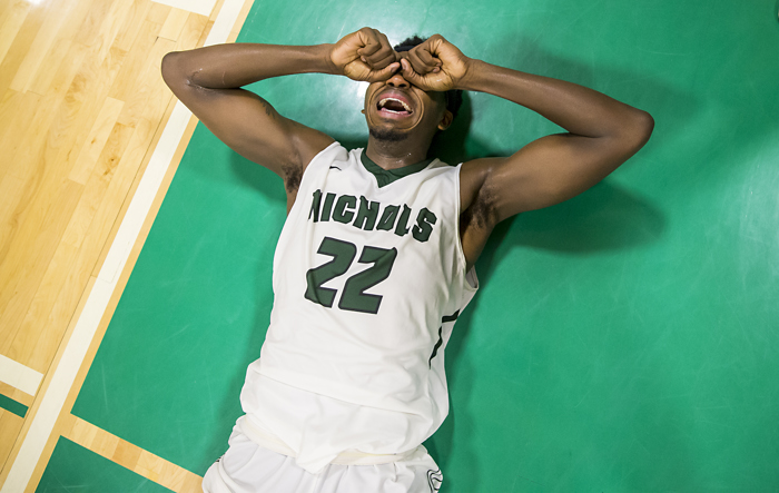 2/25/17- Dudley, MA: Nichols College Forward Devin Stallings cries tears of joy immediately after winning the CCC Mens Basketball Championship. The Bison defeated Endicott 67-64.