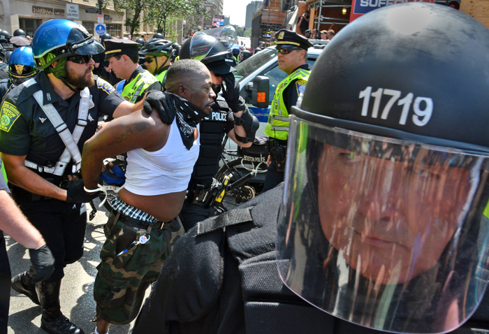 (Boston, Ma 081917) Police arrest demonstrators on Boylston Street after freedom of speech speakers were transported from the common by police wagon. August 19, 2017